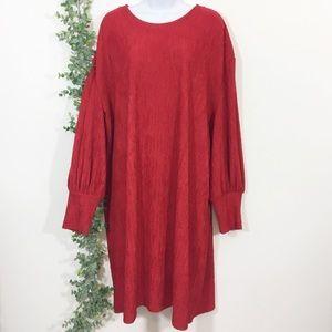 Eloquii Red bishop sleeve sheath dress